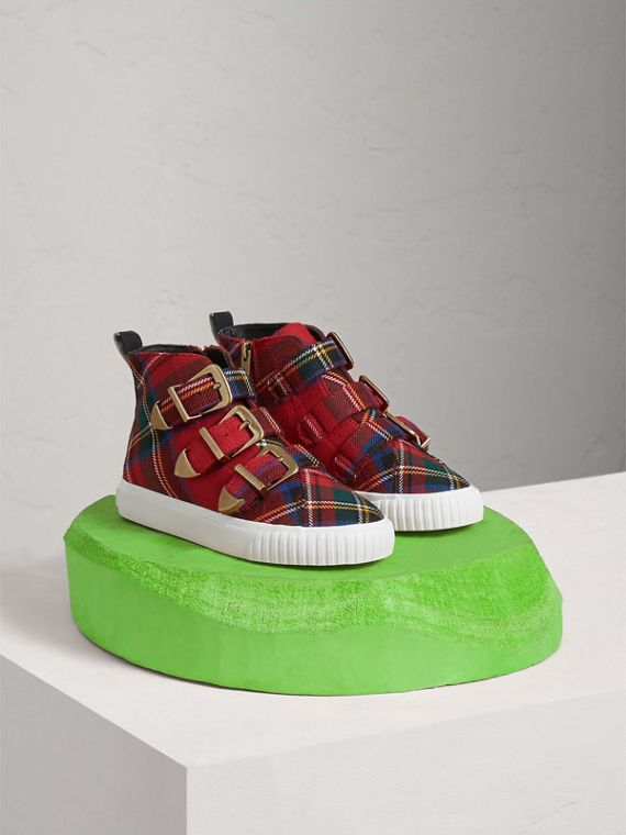 Buckle Detail Tartan Wool High-top Trainers in Bright Red