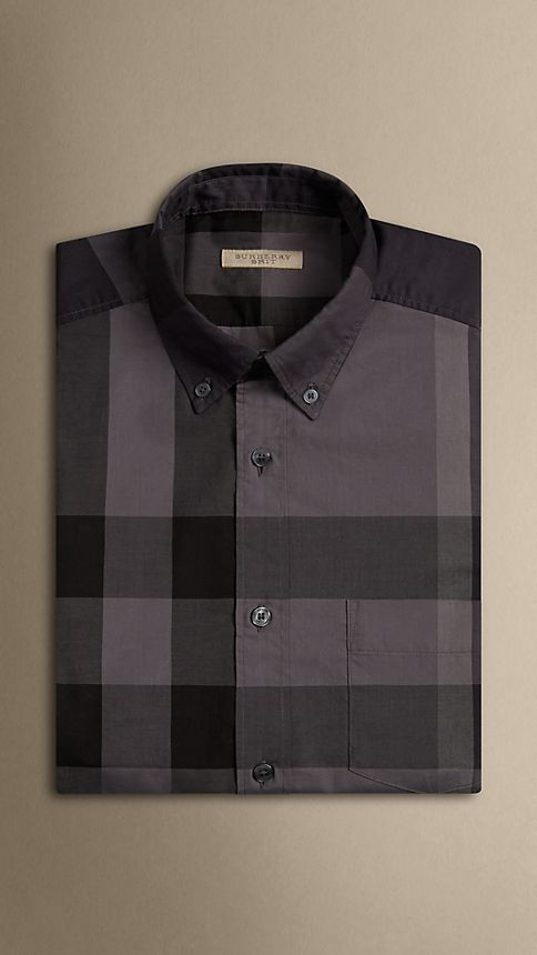 Charcoal Short-sleeved Check Cotton Shirt Charcoal - Image 4