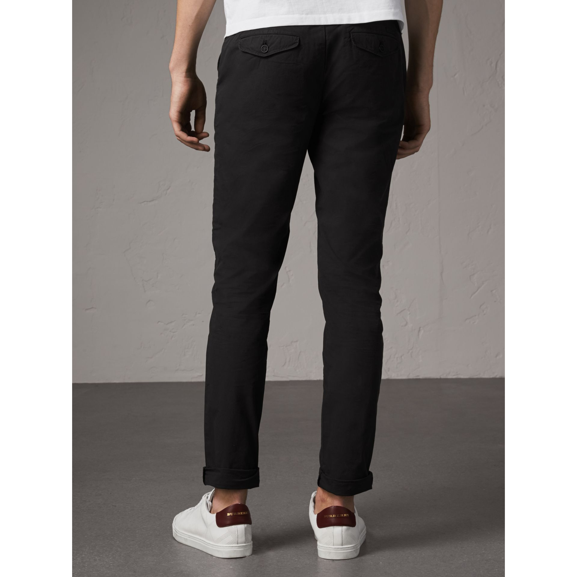 Slim Fit Cotton Poplin Chinos in Black - Men | Burberry Australia - gallery image 3