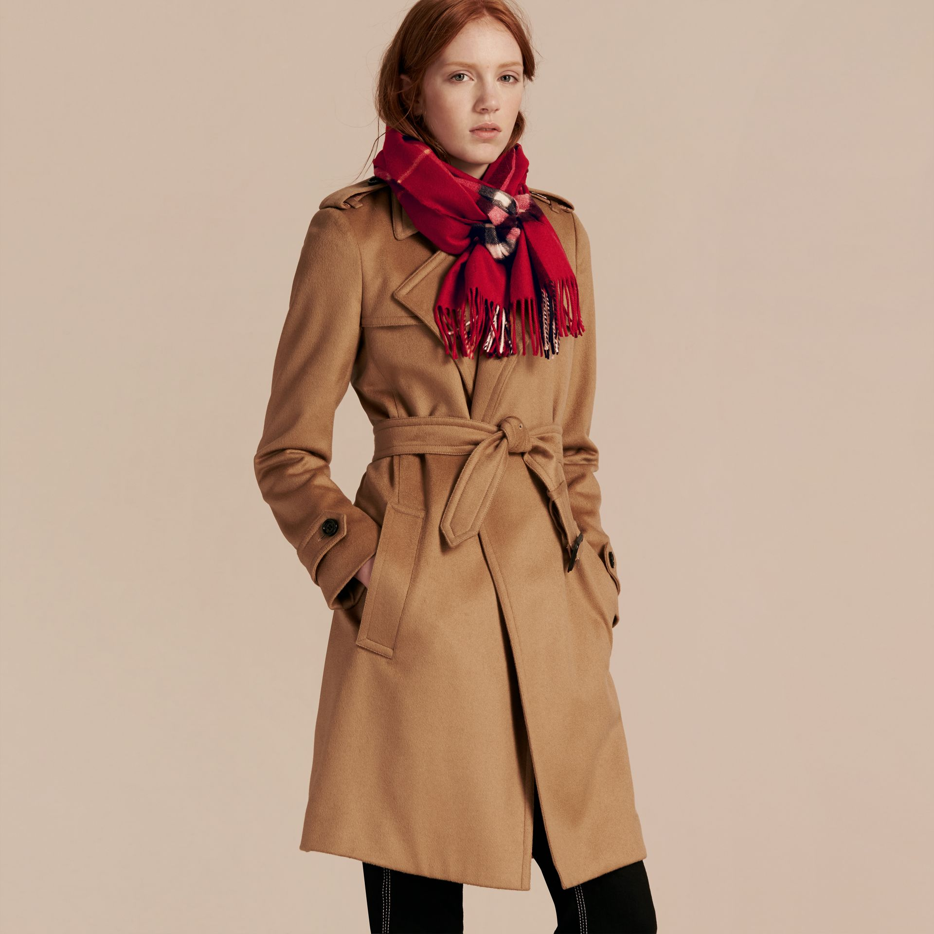 Parade red The Classic Cashmere Scarf in Check Parade Red - gallery image 3