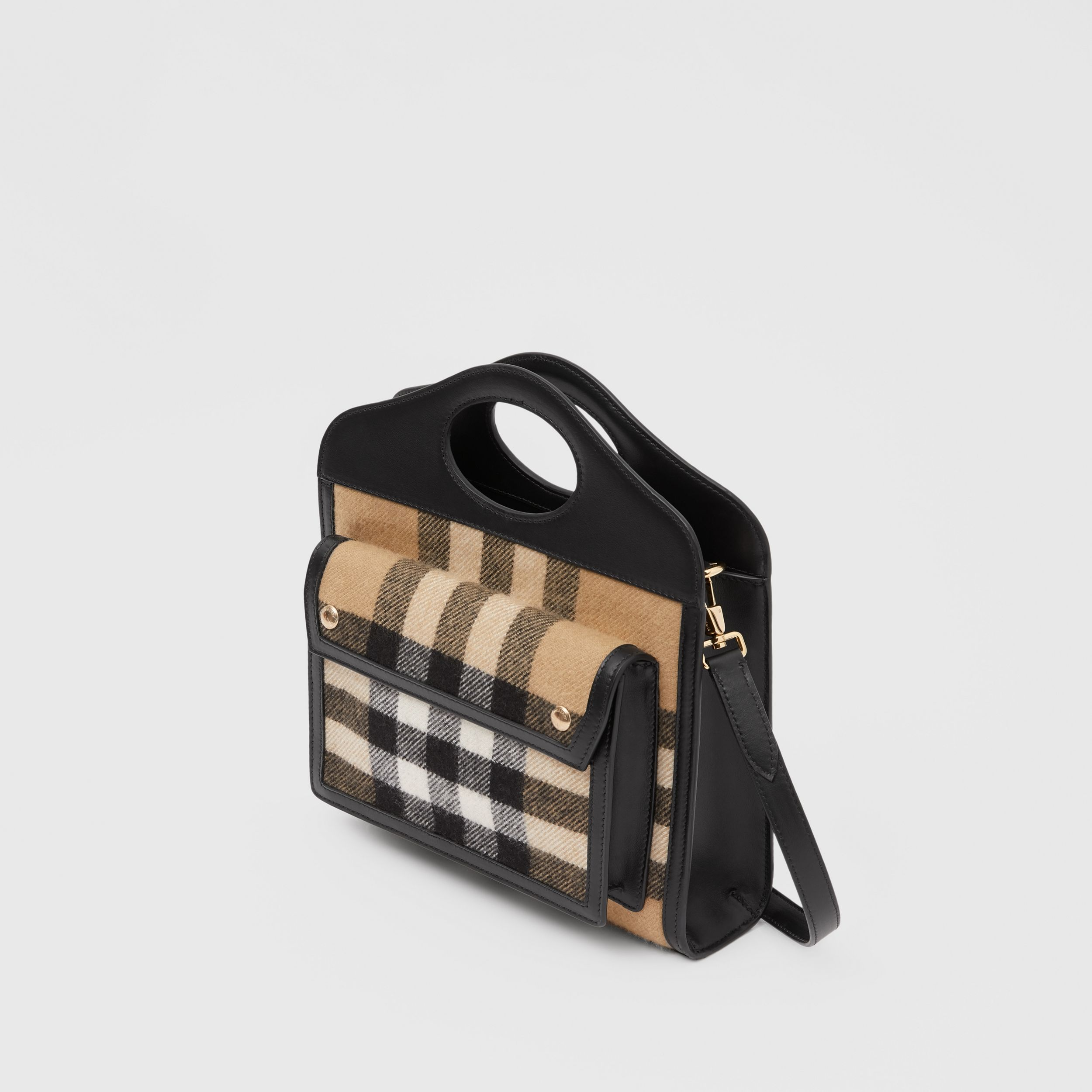 Mini Check Cashmere and Leather Pocket Bag in Archive Beige - Women | Burberry - 4