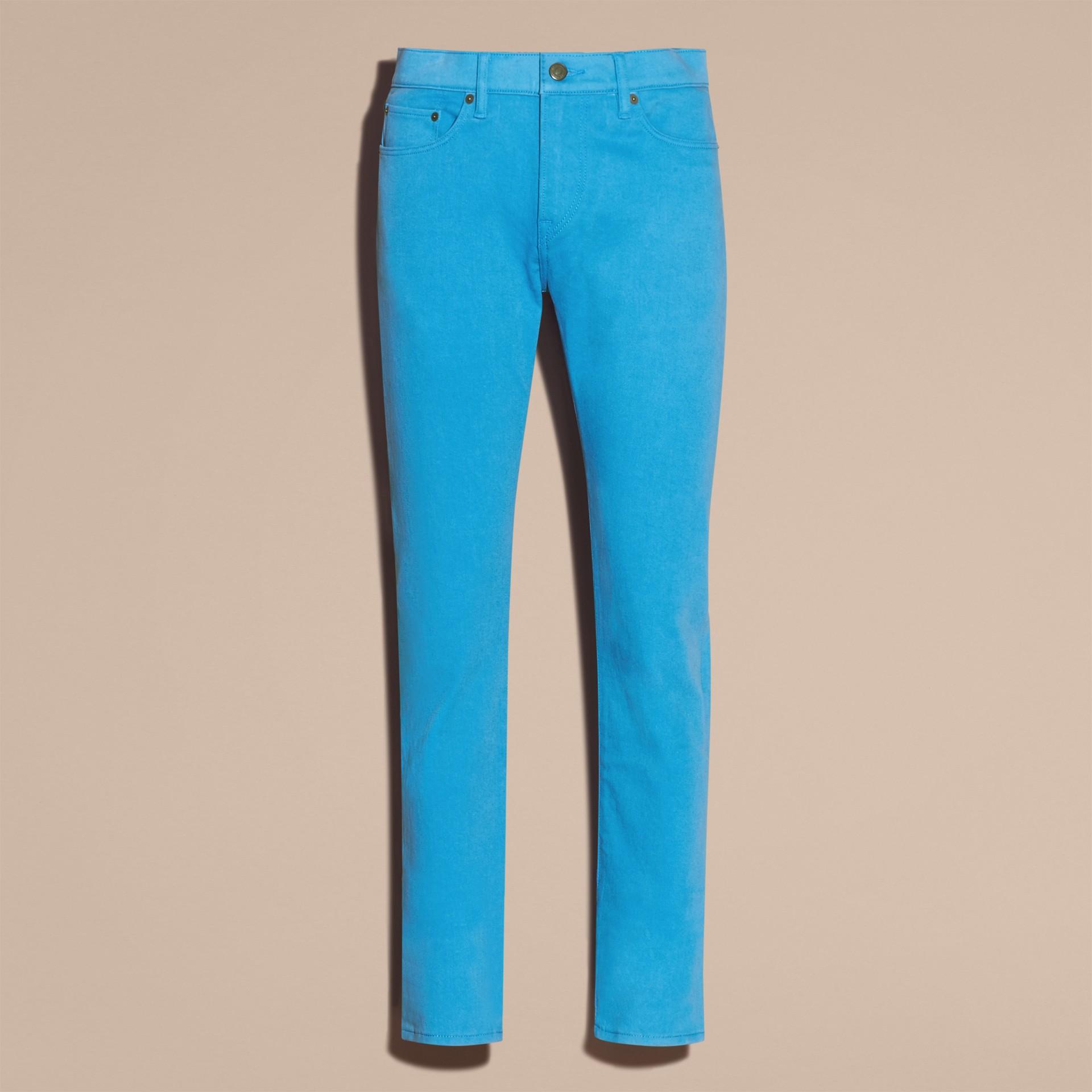 Slim Fit Japanese Stretch Denim Jeans Cerulean Blue - gallery image 4
