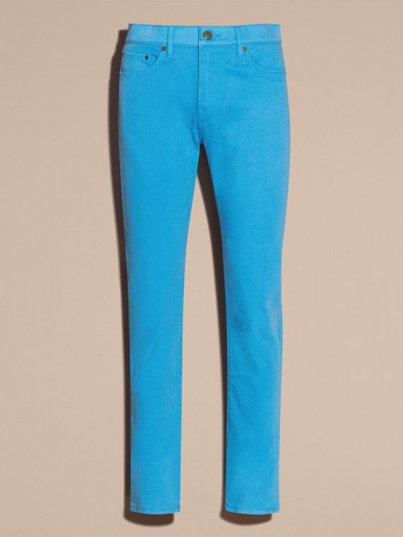 Slim Fit Japanese Stretch Denim Jeans Cerulean Blue - cell image 3