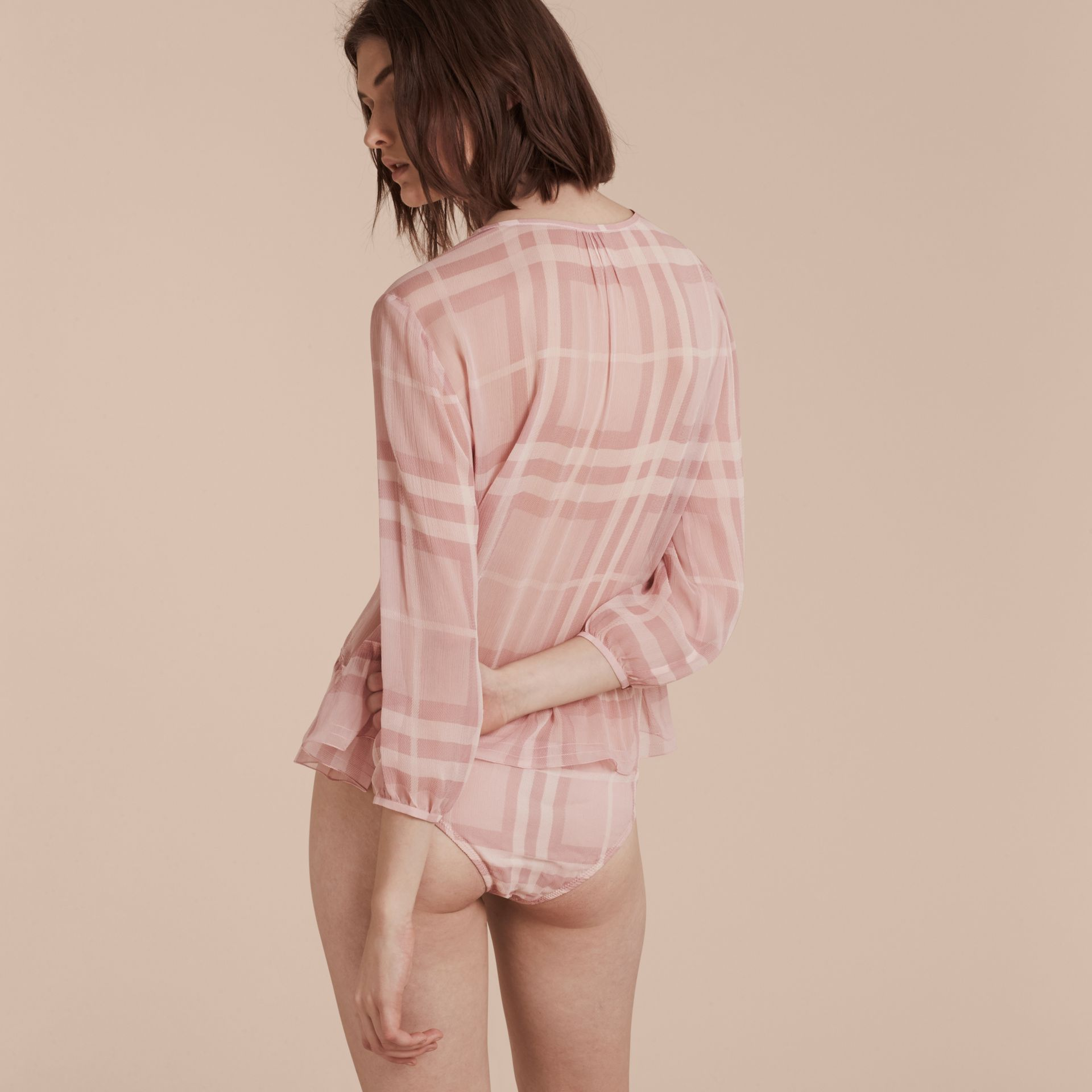 Pale pink Tonal Check Silk Crepon Briefs Pale Pink - gallery image 3