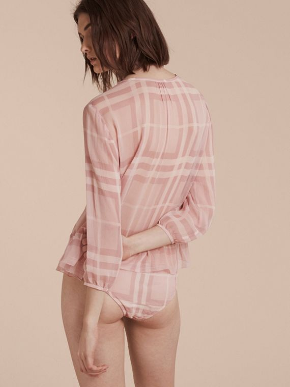 Pale pink Tonal Check Silk Crepon Briefs Pale Pink - cell image 2