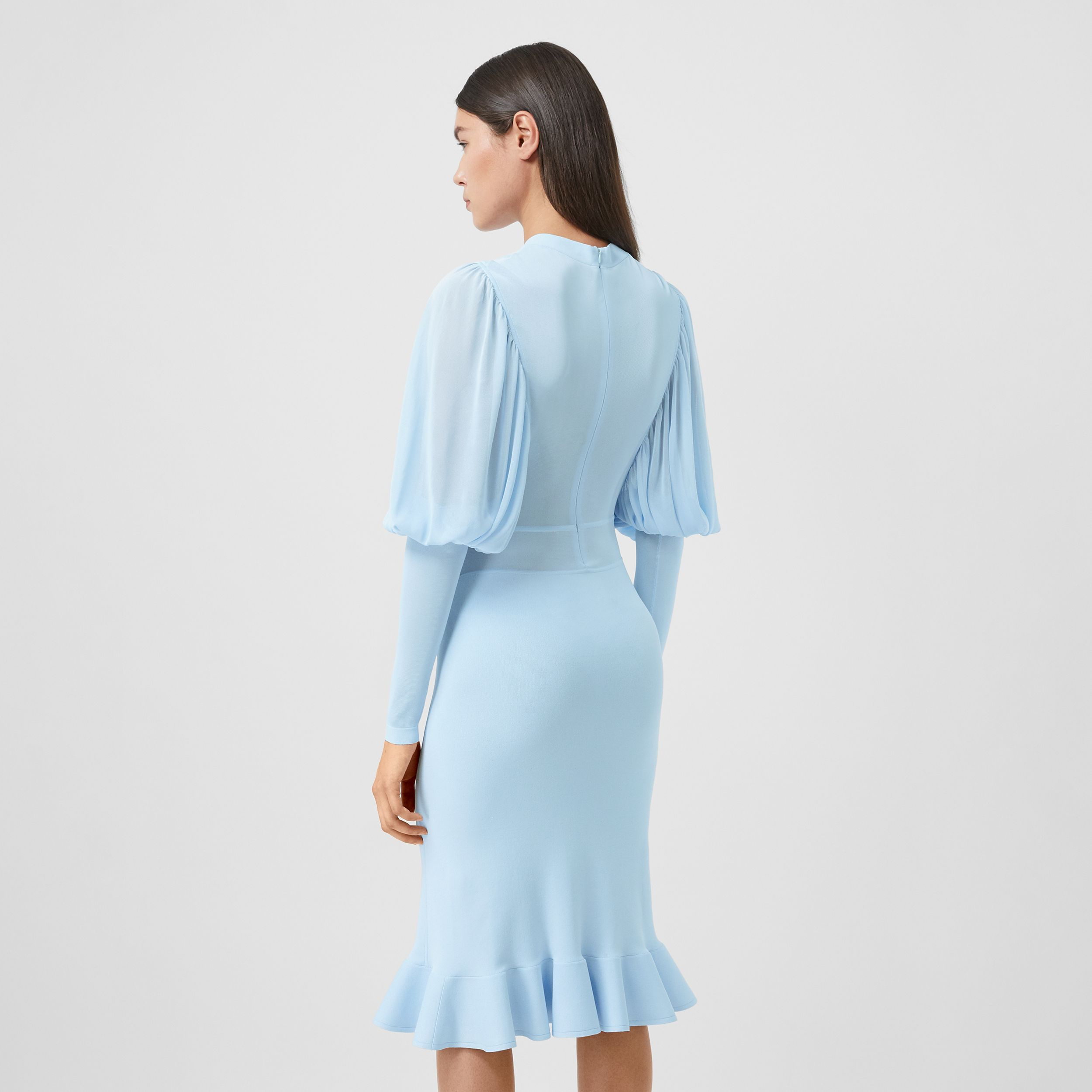 Puff-sleeve Jersey Dress in Pale Blue - Women | Burberry - 3