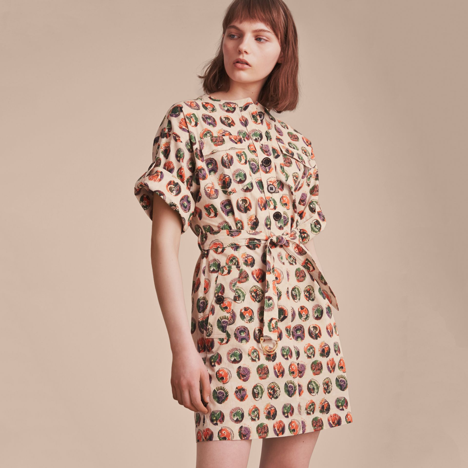 Pallas Heads Print Stretch Cotton Shirt Dress - gallery image 6