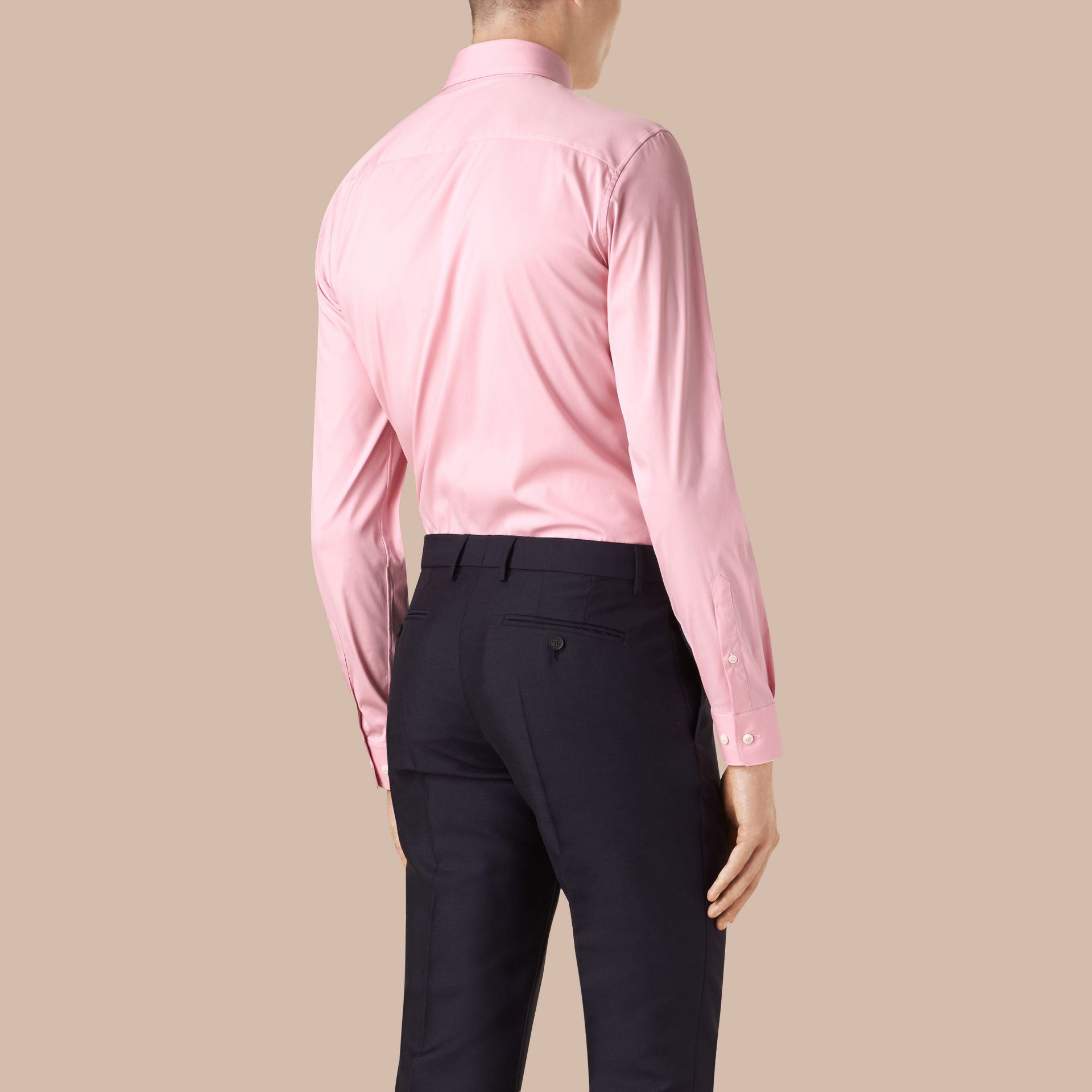 Slim Fit Stretch Cotton Shirt in City Pink - gallery image 2