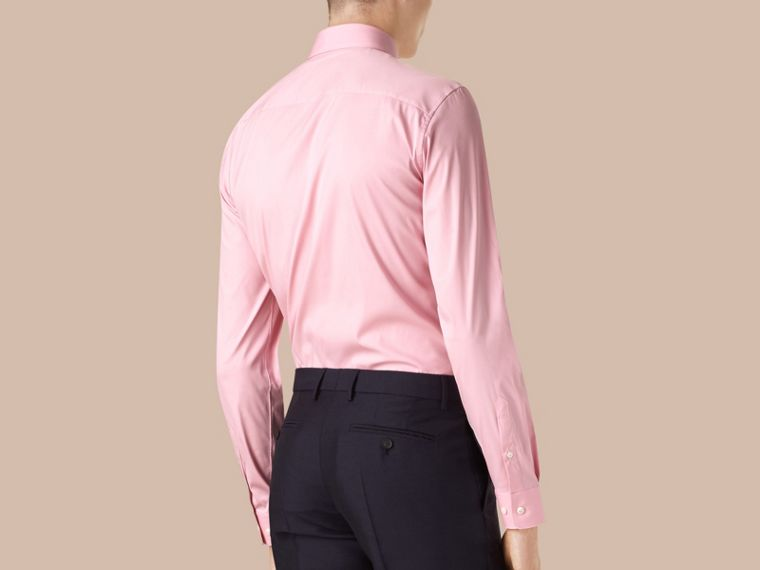 Slim Fit Stretch Cotton Shirt in City Pink - cell image 1