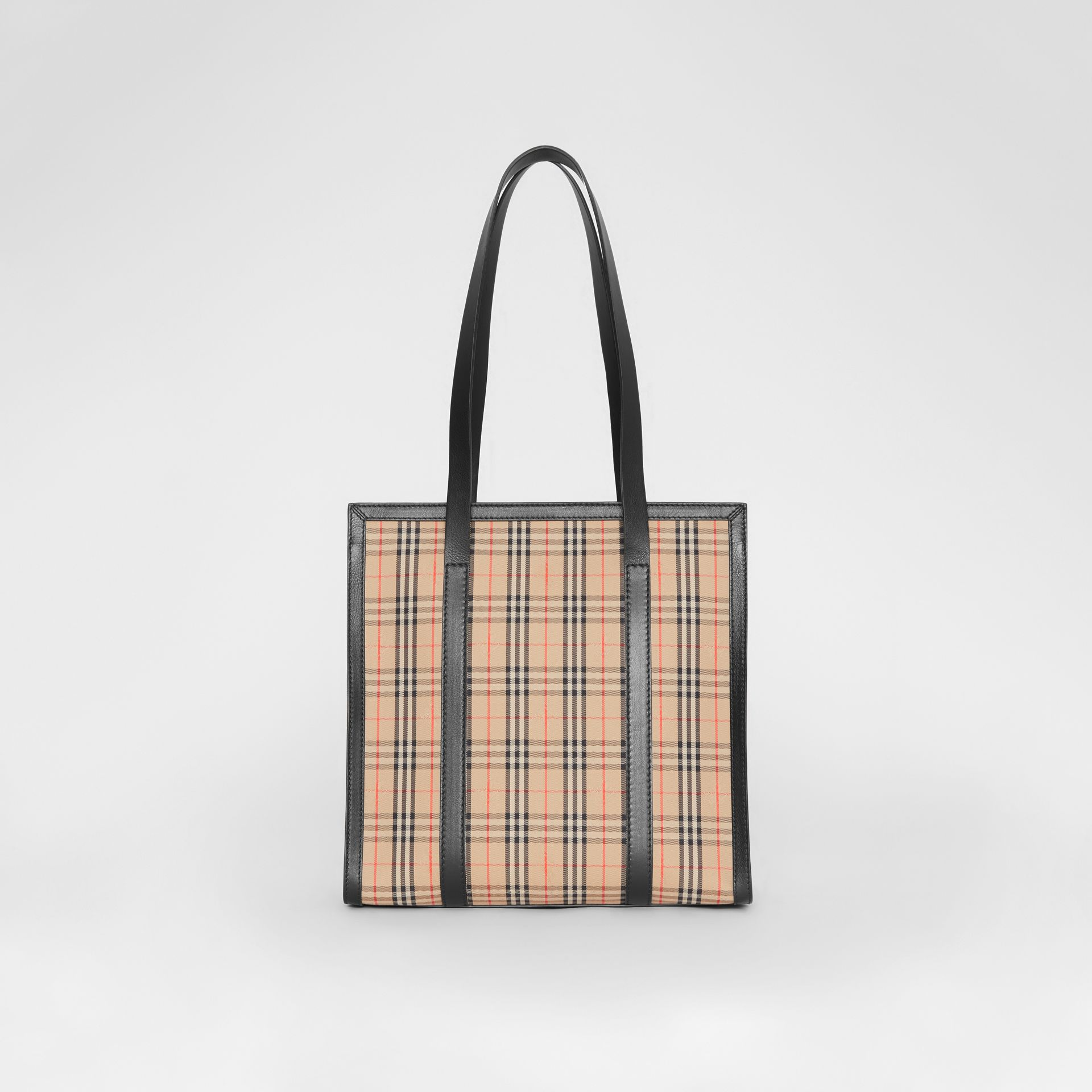 The Small 1983 Check Link Tote Bag in Black - Women | Burberry - gallery image 7