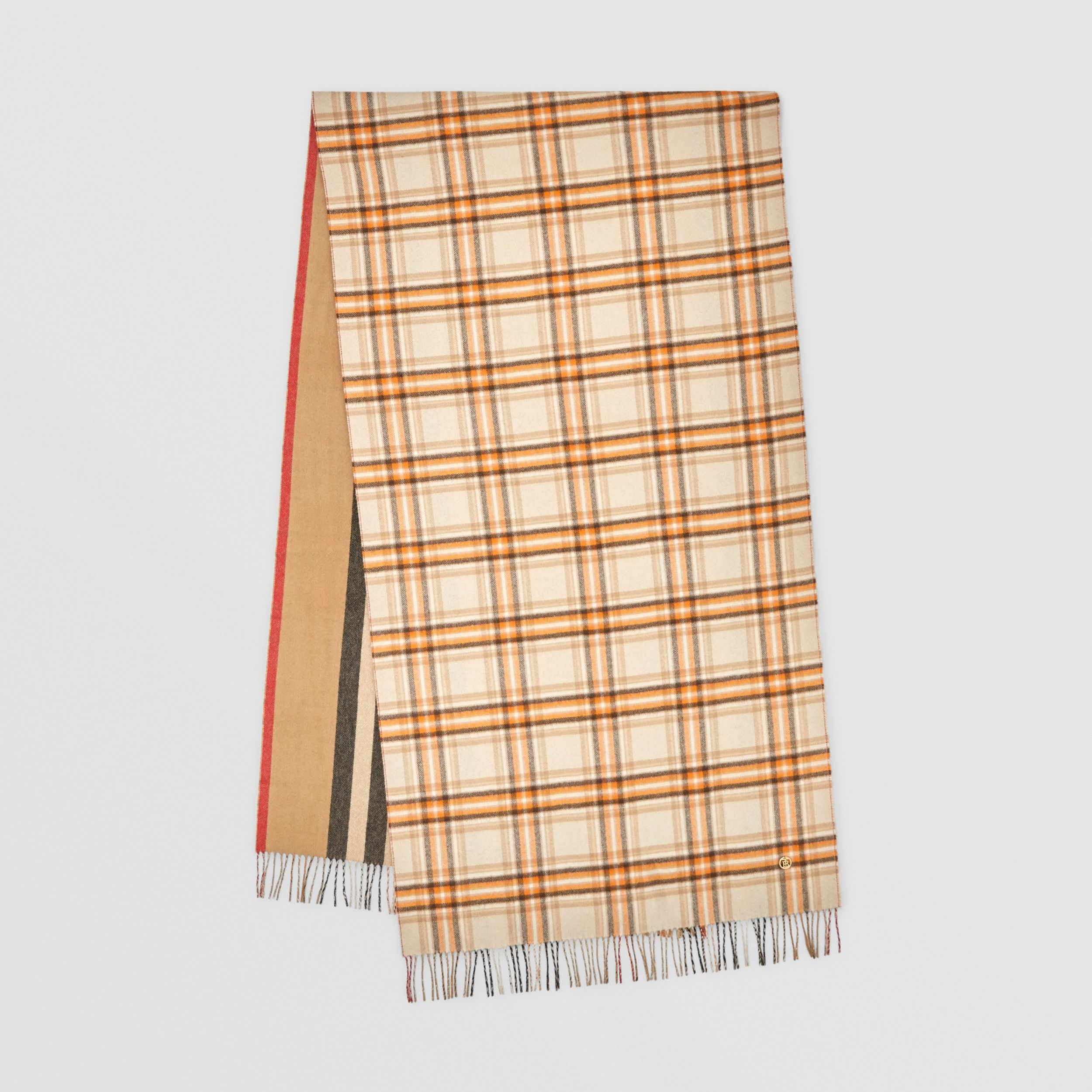 Reversible Check and Icon Stripe Cashmere Scarf in Beige | Burberry United Kingdom - 1