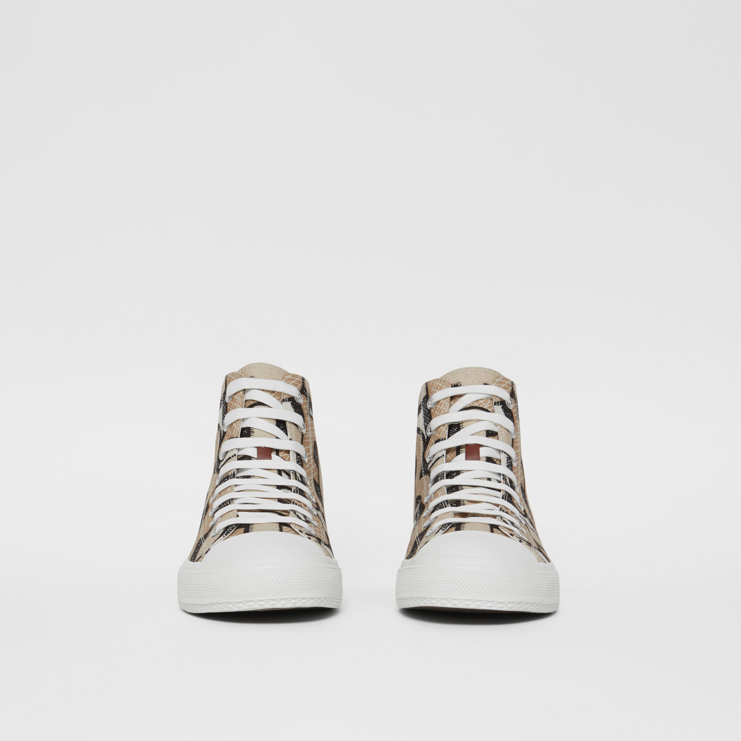 Monogram Print Cotton Canvas High-top Sneakers in Dark Beige - Men | Burberry - 3