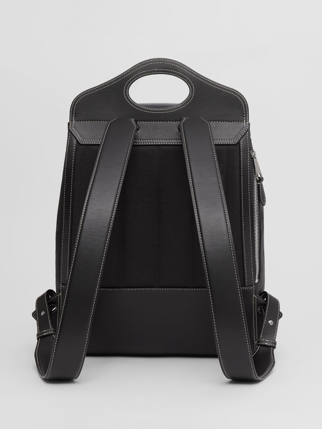 Nylon and Leather Pocket Backpack in Black