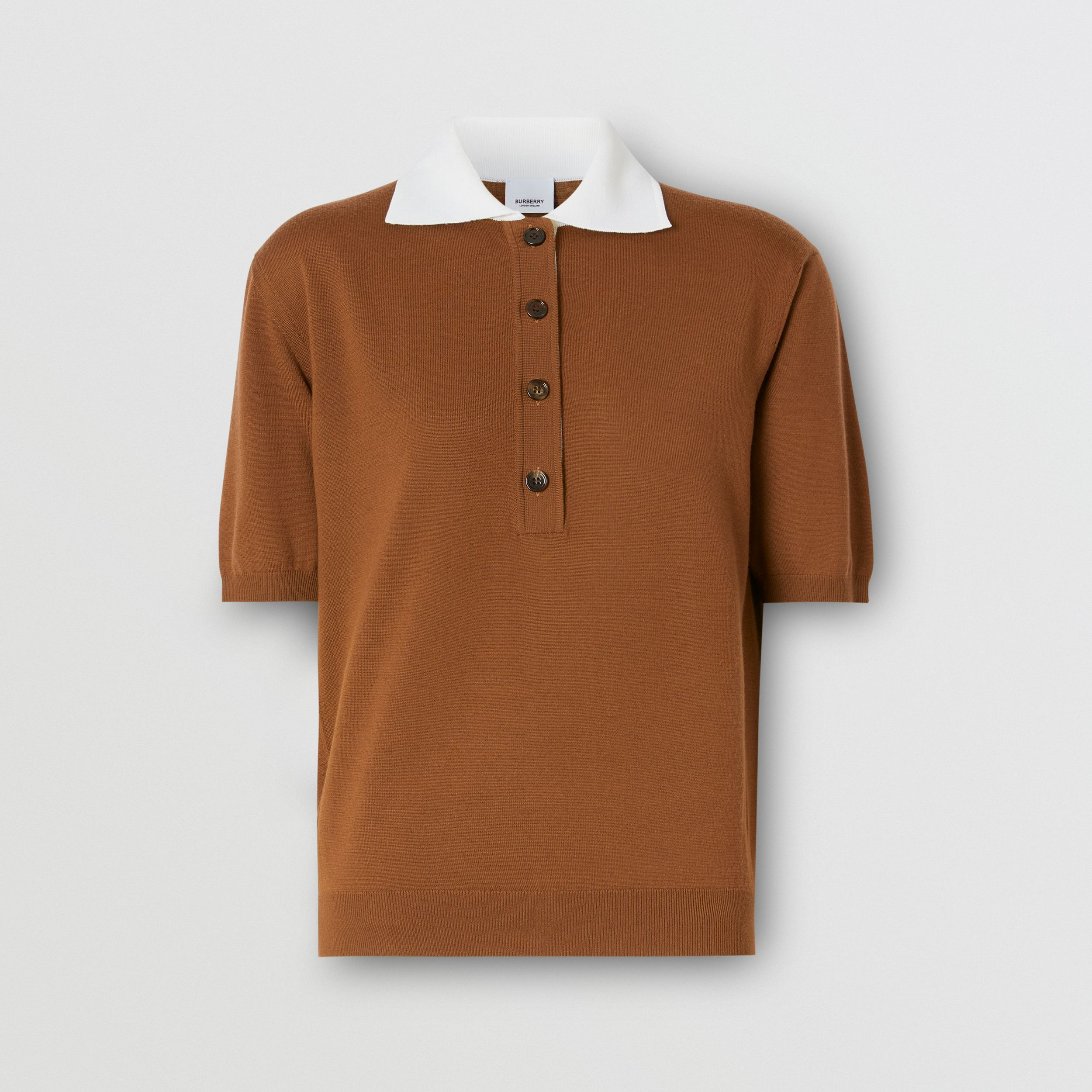 Logo Appliqué Two-tone Wool Polo Shirt in Mahogany - Women | Burberry - 4