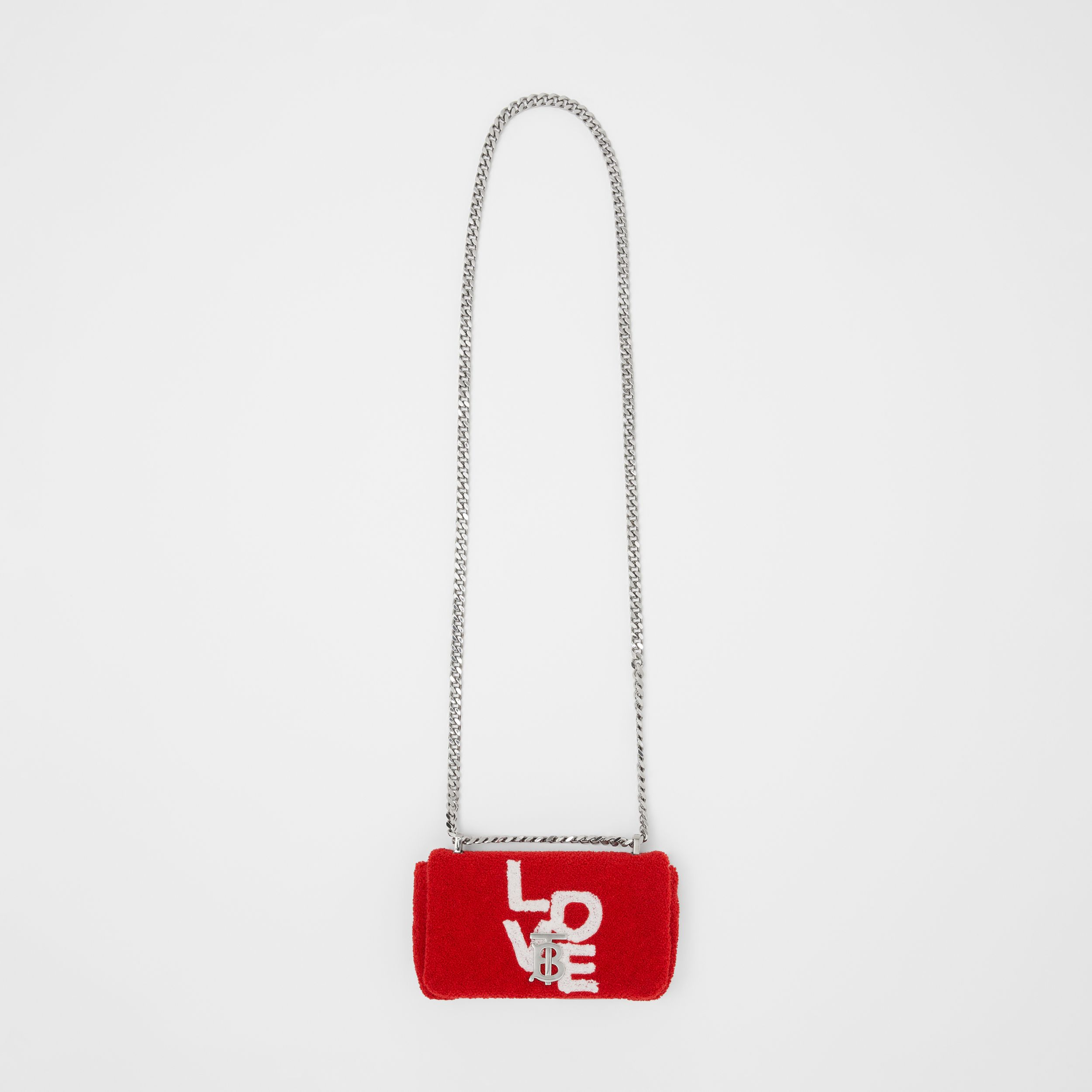 Mini Love Motif Towelling Lola Bag in Red/white - Women | Burberry United States - 4