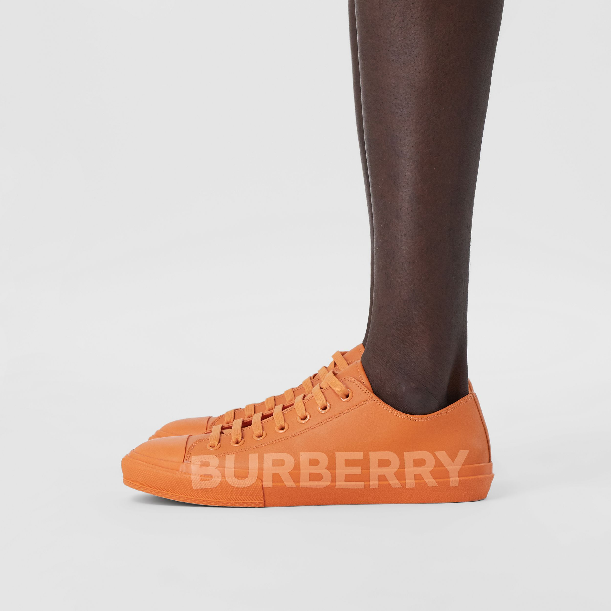 Logo Print Leather Sneakers – Online Exclusive in Deep Orange - Men | Burberry Hong Kong S.A.R. - 3