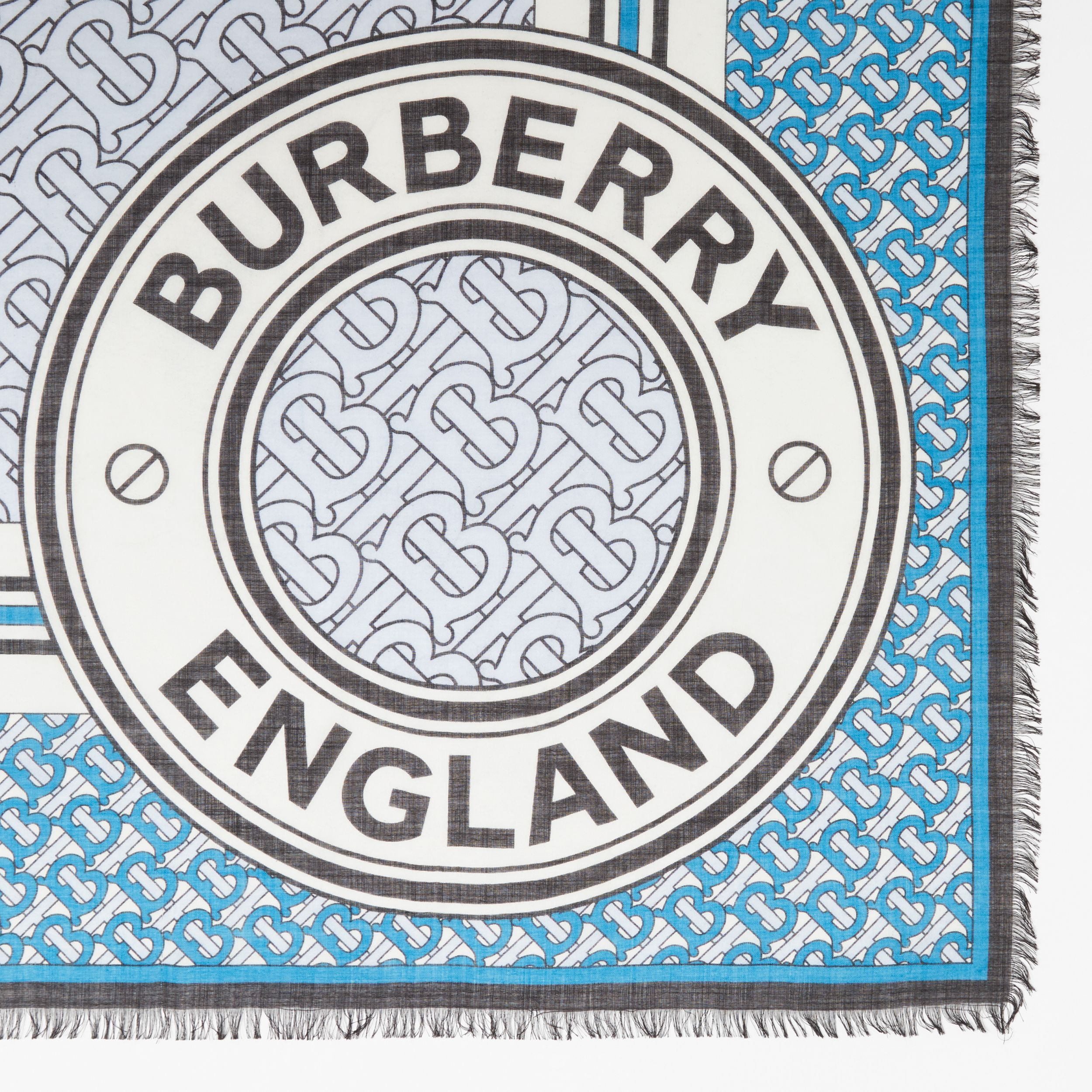 Monogram Print Wool Silk Large Square Scarf in Petrol Blue | Burberry - 2