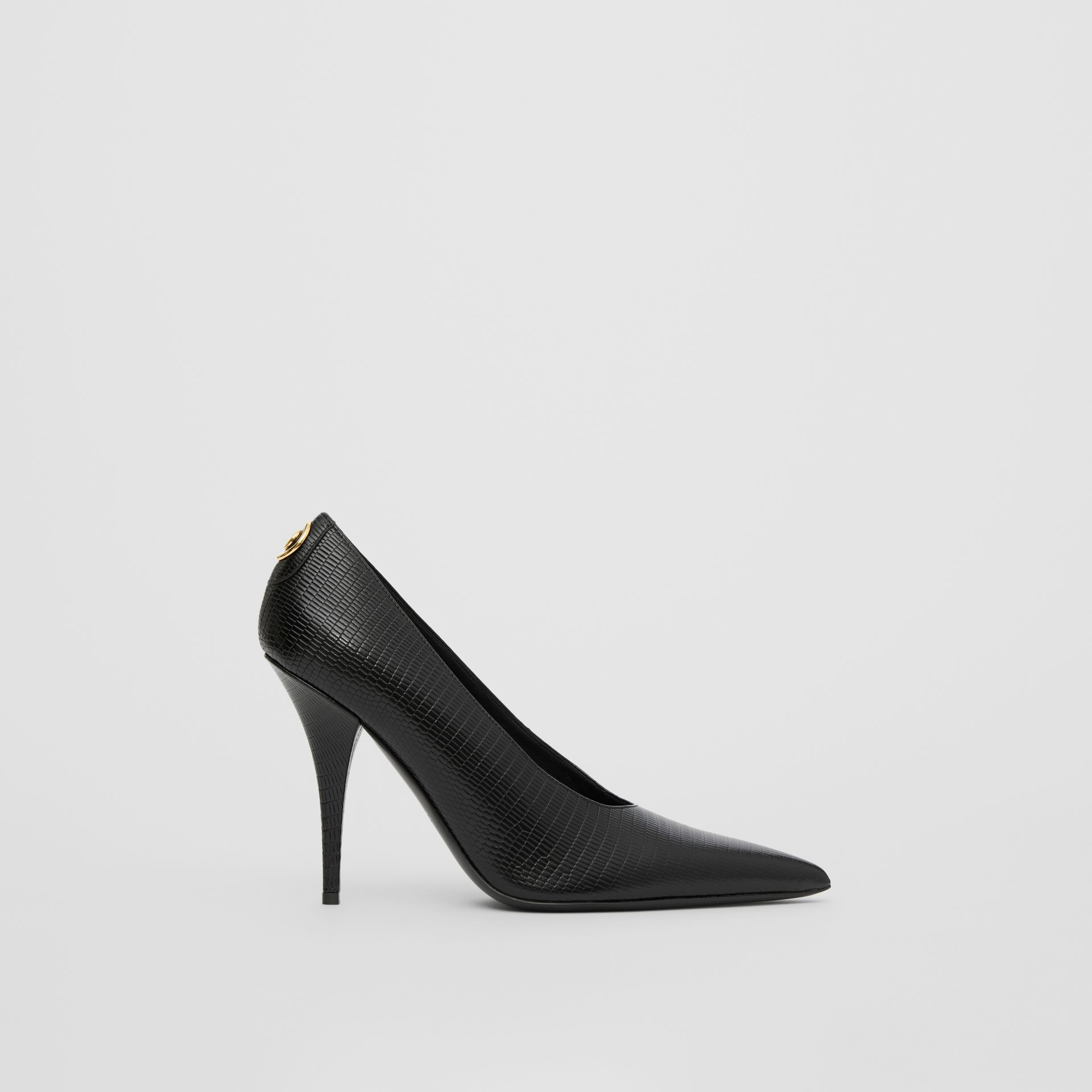 Stud Detail Embossed Leather Point-toe Pumps in Black - Women | Burberry - gallery image 5