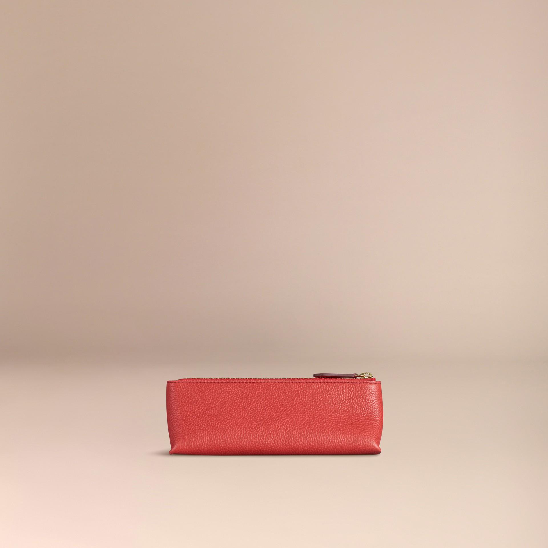 Rouge orangé Petite pochette pour accessoires numériques en cuir grainé Rouge Orangé - photo de la galerie 4