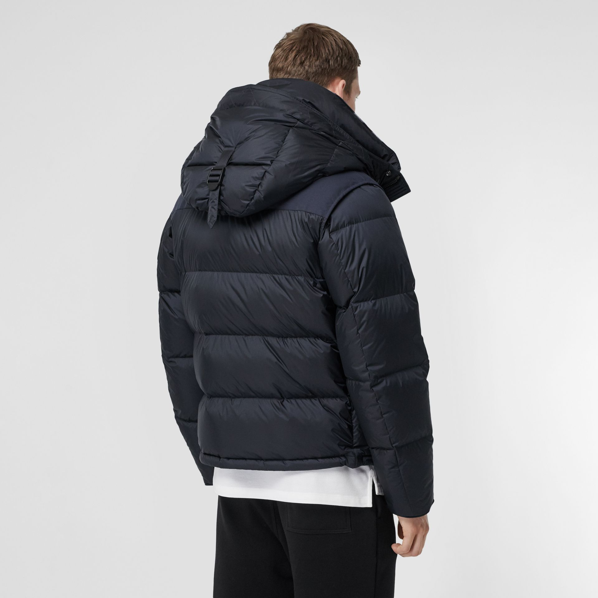 Detachable Sleeve Hooded Puffer Jacket in Navy - Men | Burberry - gallery image 2