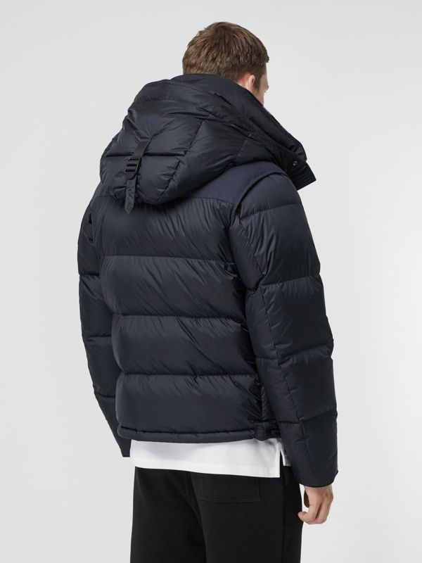 Detachable Sleeve Hooded Puffer Jacket in Navy - Men | Burberry - cell image 2