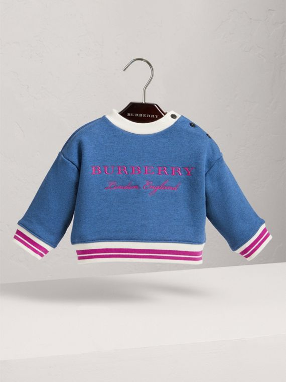 Contrast Stripe Embroidered Cotton Sweatshirt in Hydrangea Blue