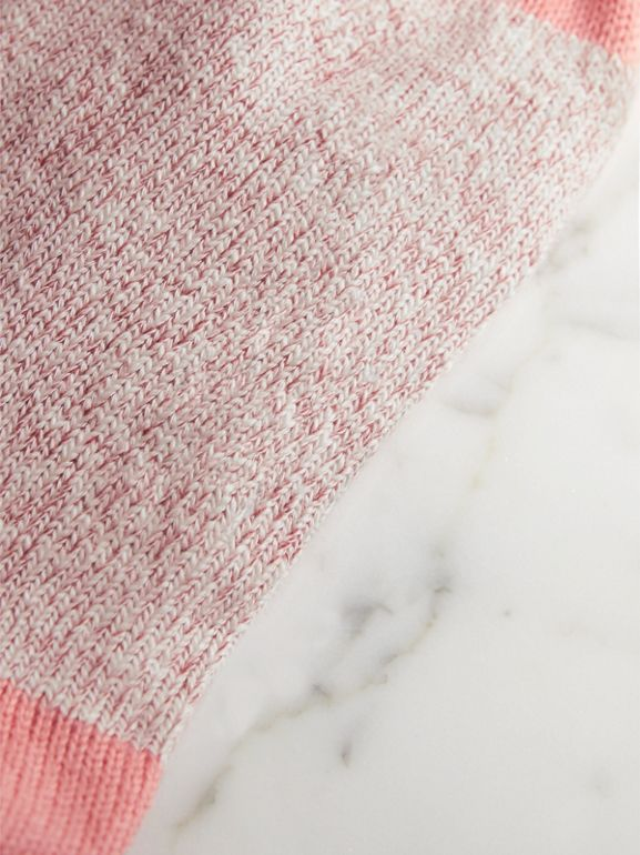 Diamond Knitted Cotton Mouliné Socks in Rose Pink | Burberry United Kingdom - cell image 1