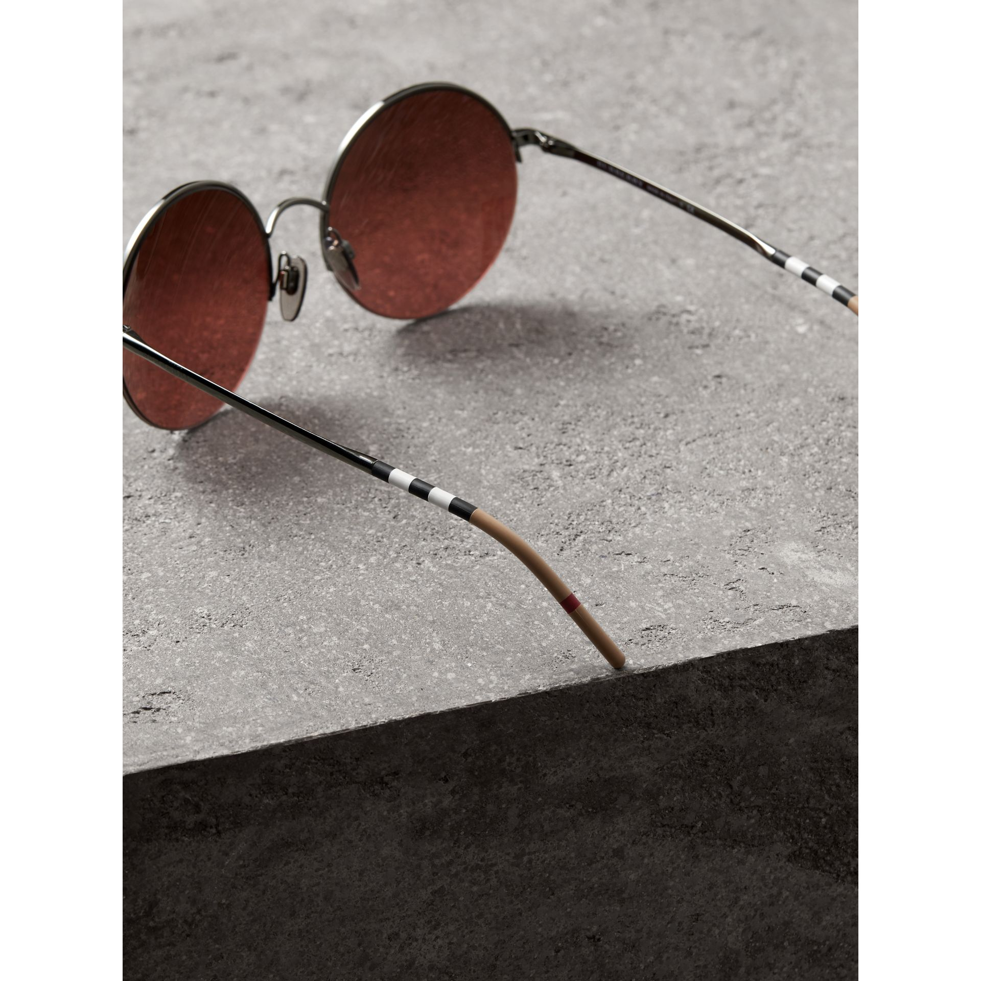 Mirrored Round Frame Sunglasses in Burgundy - Women | Burberry - gallery image 3