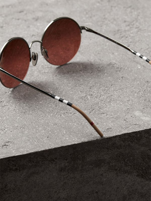 Mirrored Round Frame Sunglasses in Burgundy - Women | Burberry - cell image 3
