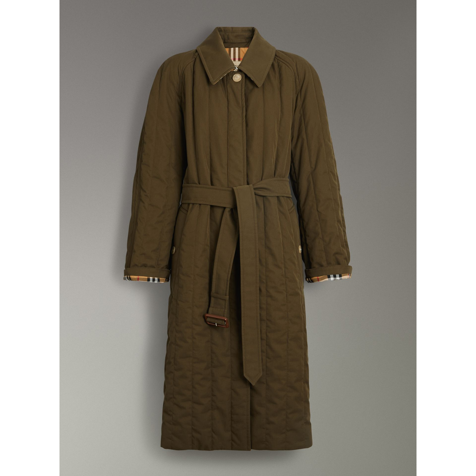 Quilted Tropical Gabardine Car Coat in Dark Military Khaki - Women | Burberry Australia - gallery image 3