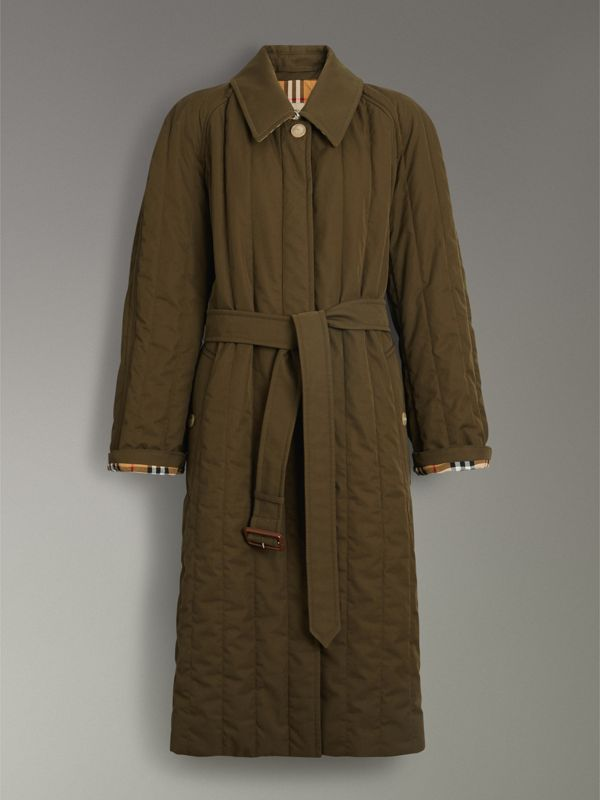 Quilted Tropical Gabardine Car Coat in Dark Military Khaki - Women | Burberry Australia - cell image 3