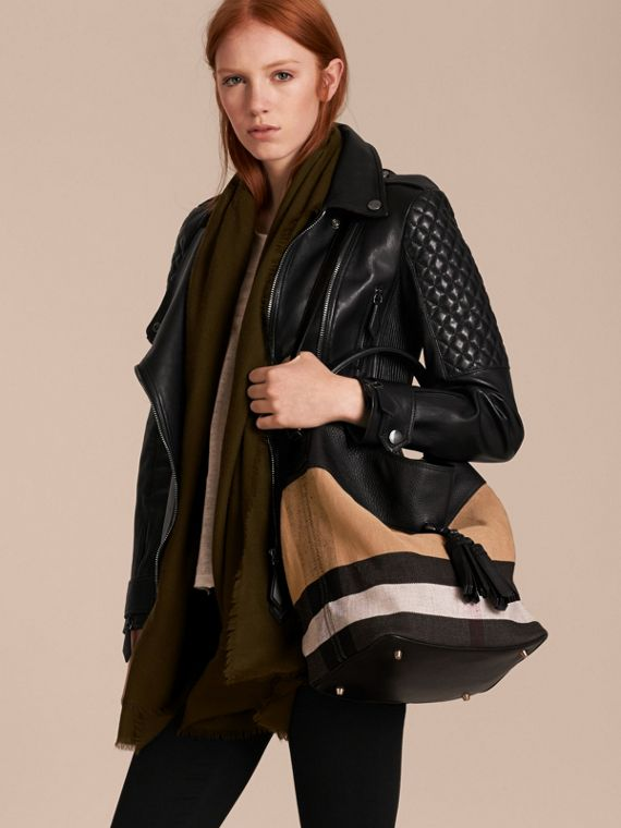 The Ashby media con pelle e motivo Canvas check (Nero/nero) - Donna | Burberry - cell image 3