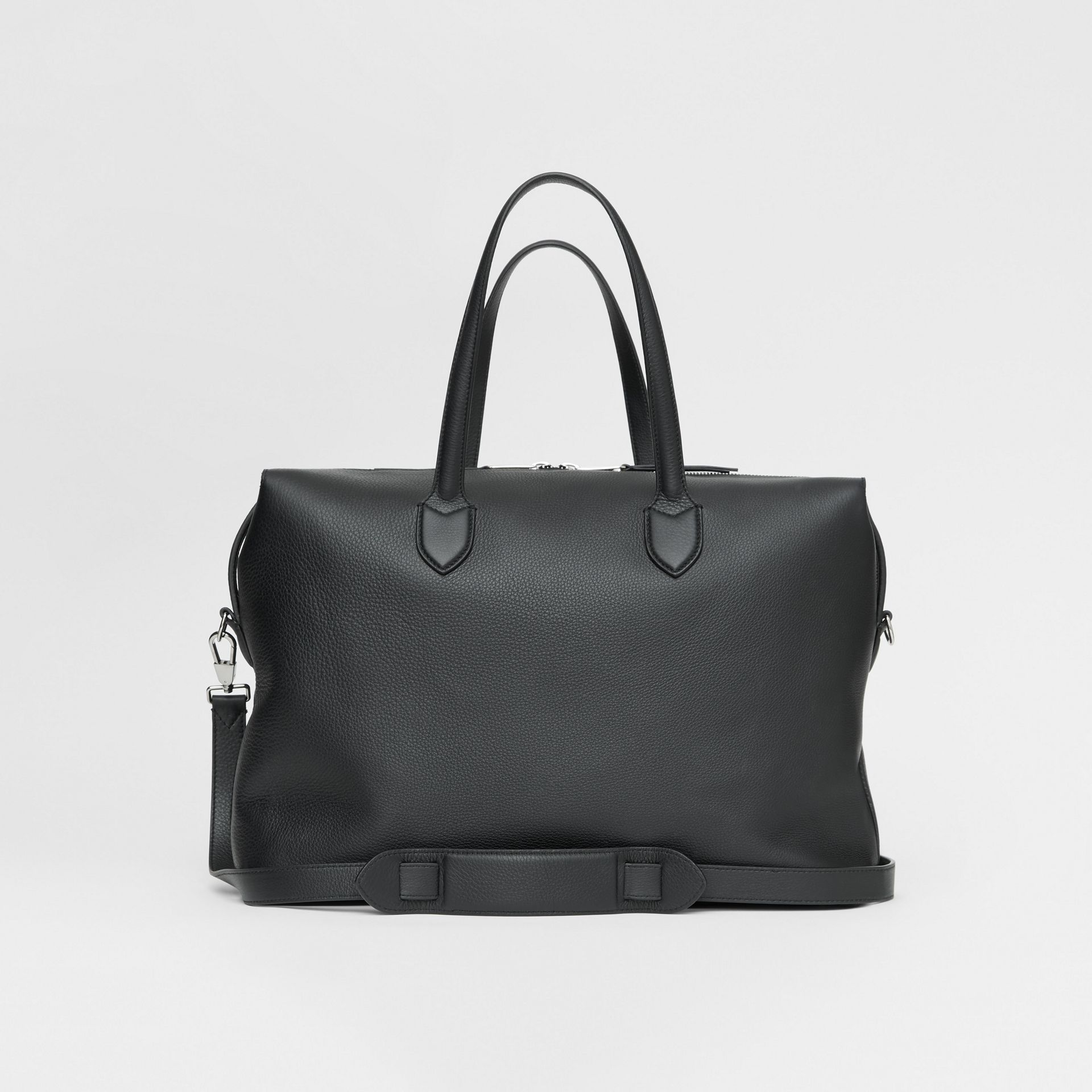 Grainy Leather Holdall in Black - Men | Burberry United Kingdom - gallery image 7