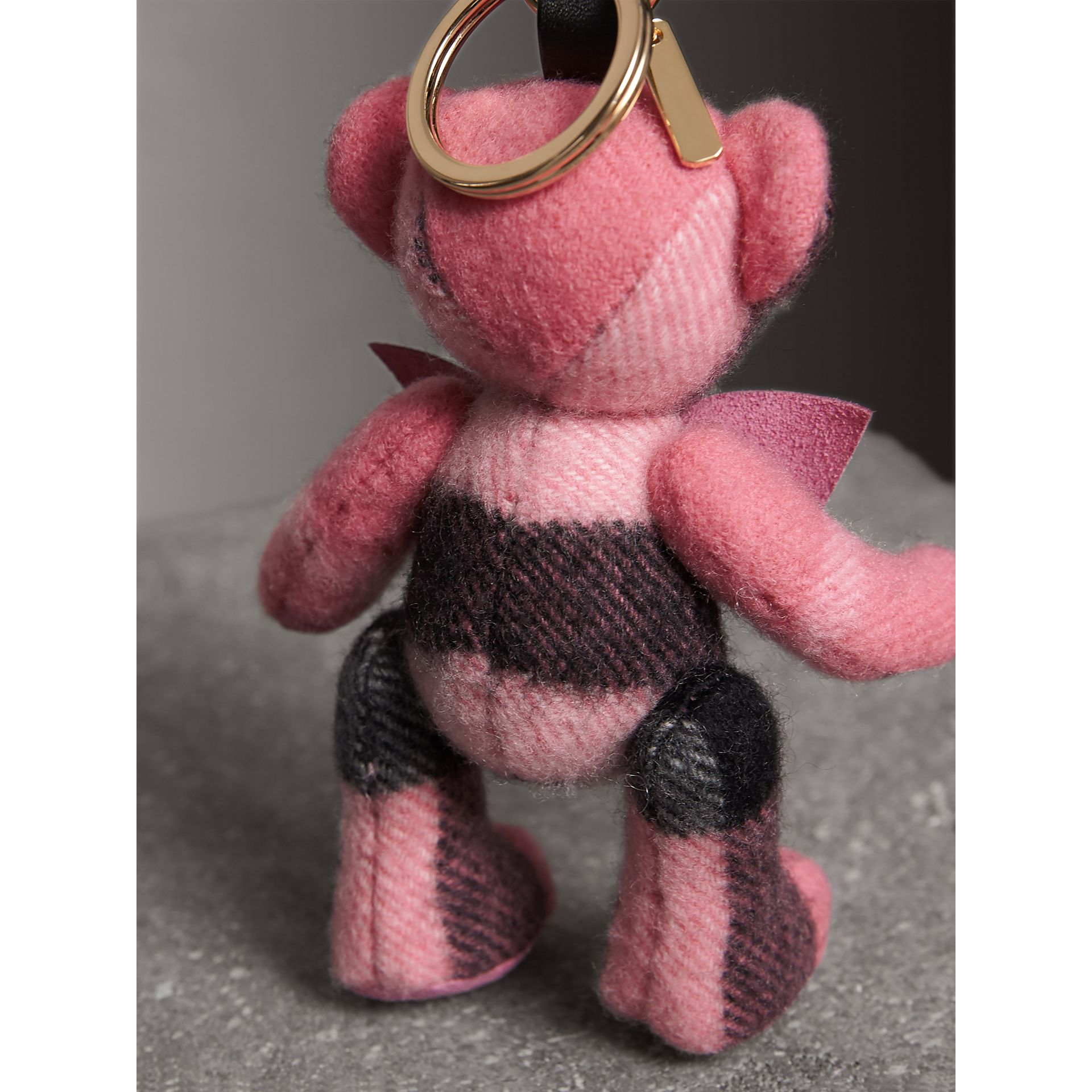 Thomas Bear Charm in Check Cashmere in Rose Pink - Women | Burberry - gallery image 4