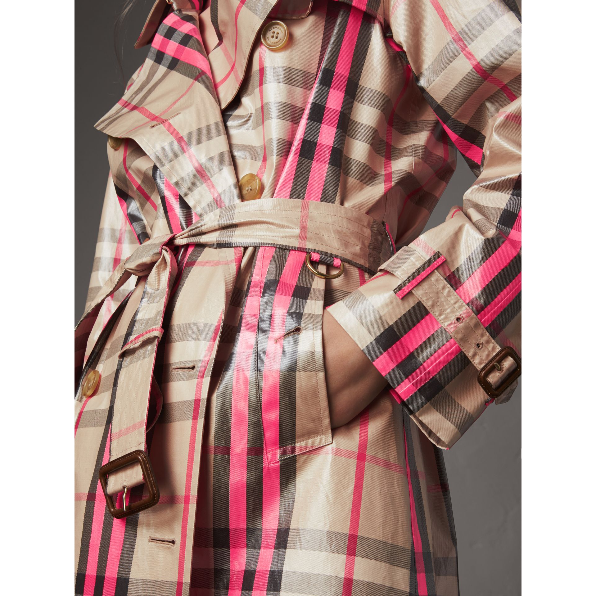 Laminated Check Trench Coat in Neon Pink - Women | Burberry United Kingdom - gallery image 1