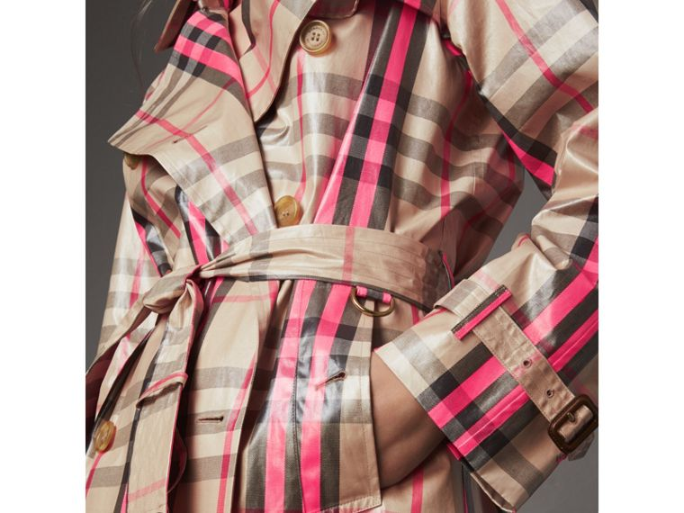 Laminated Check Trench Coat in Neon Pink - Women | Burberry United Kingdom - cell image 1