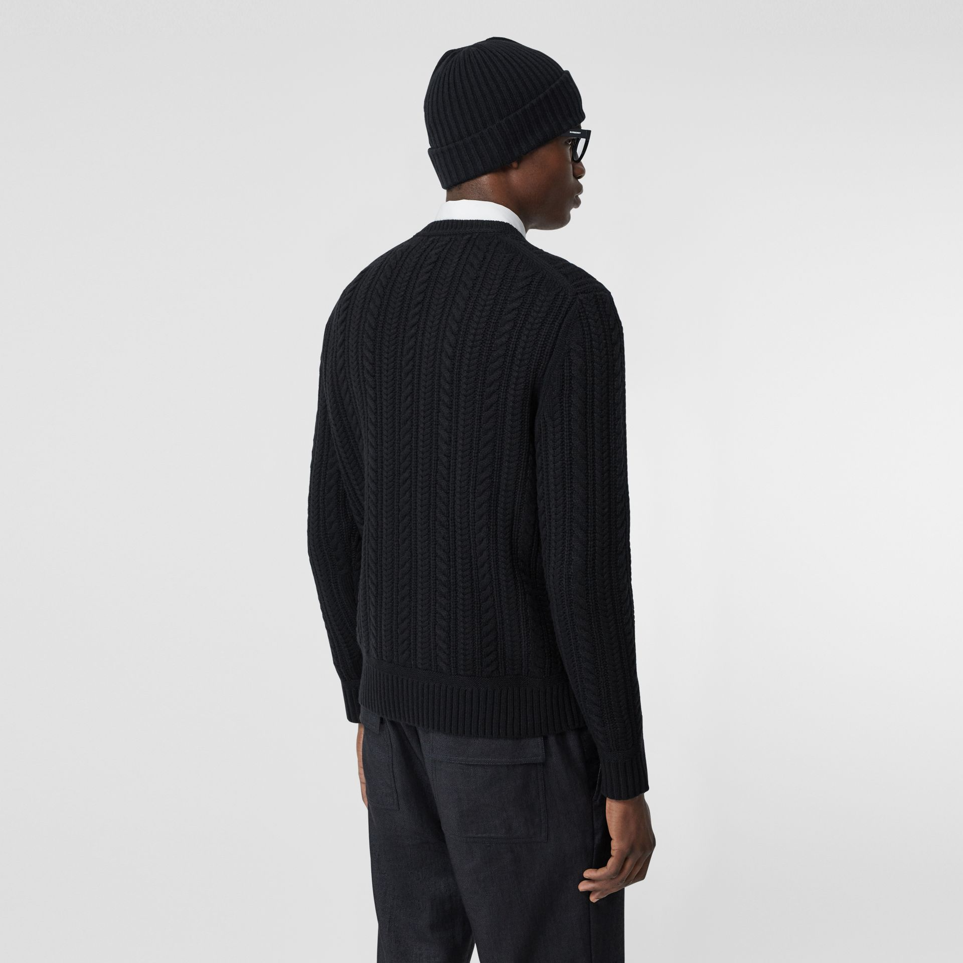 Cable Knit Cashmere Sweater in Black - Men | Burberry - gallery image 2