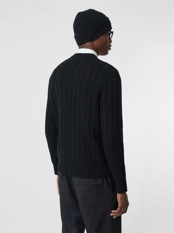 Cable Knit Cashmere Sweater in Black - Men | Burberry - cell image 2