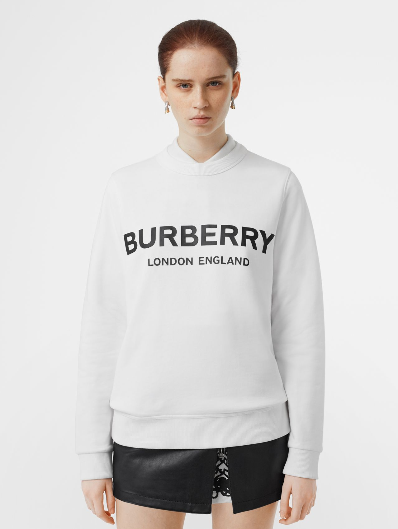 Logo Print Cotton Sweatshirt in White