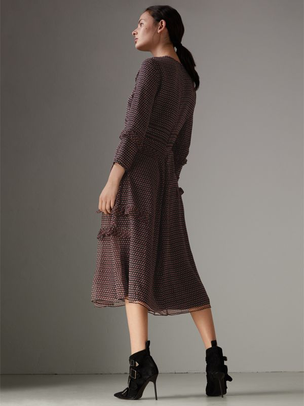 Long-sleeve Ruffle Detail Spot Print Silk Dress in Parade Red - Women | Burberry - cell image 2