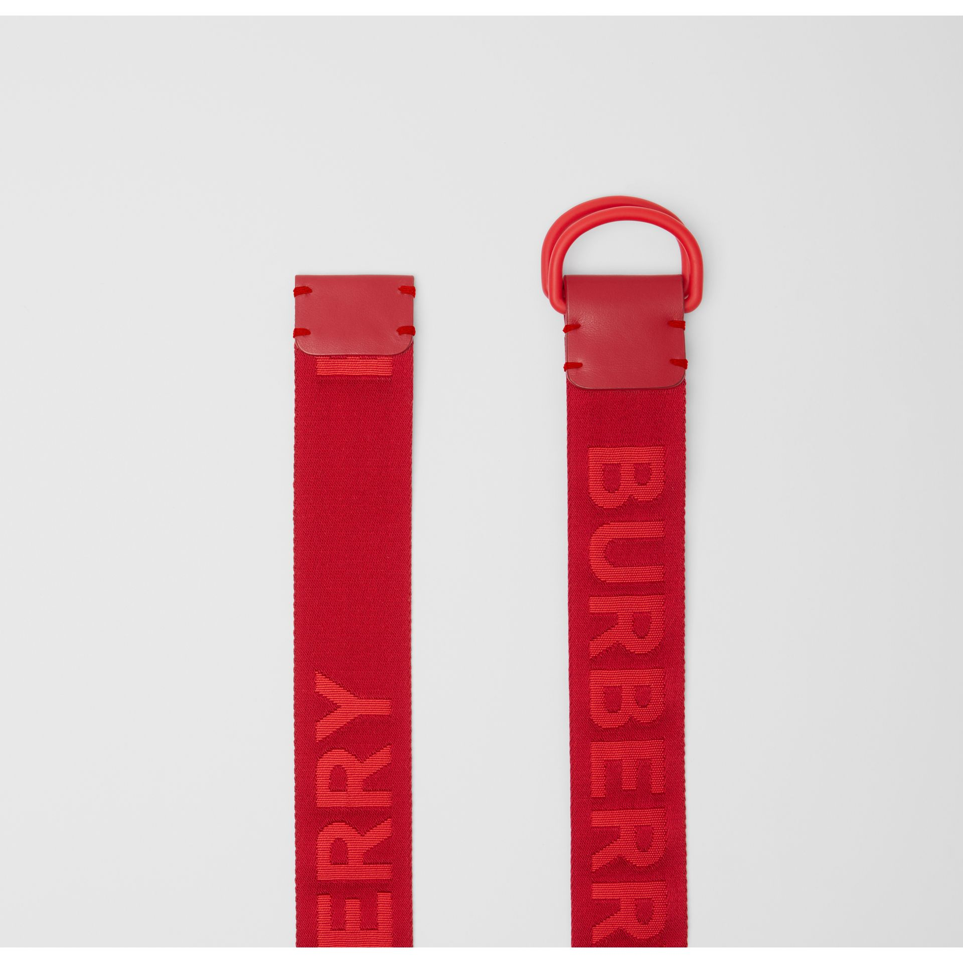 Logo Detail Double D-ring Belt in Bright Red - Men | Burberry United Kingdom - gallery image 4