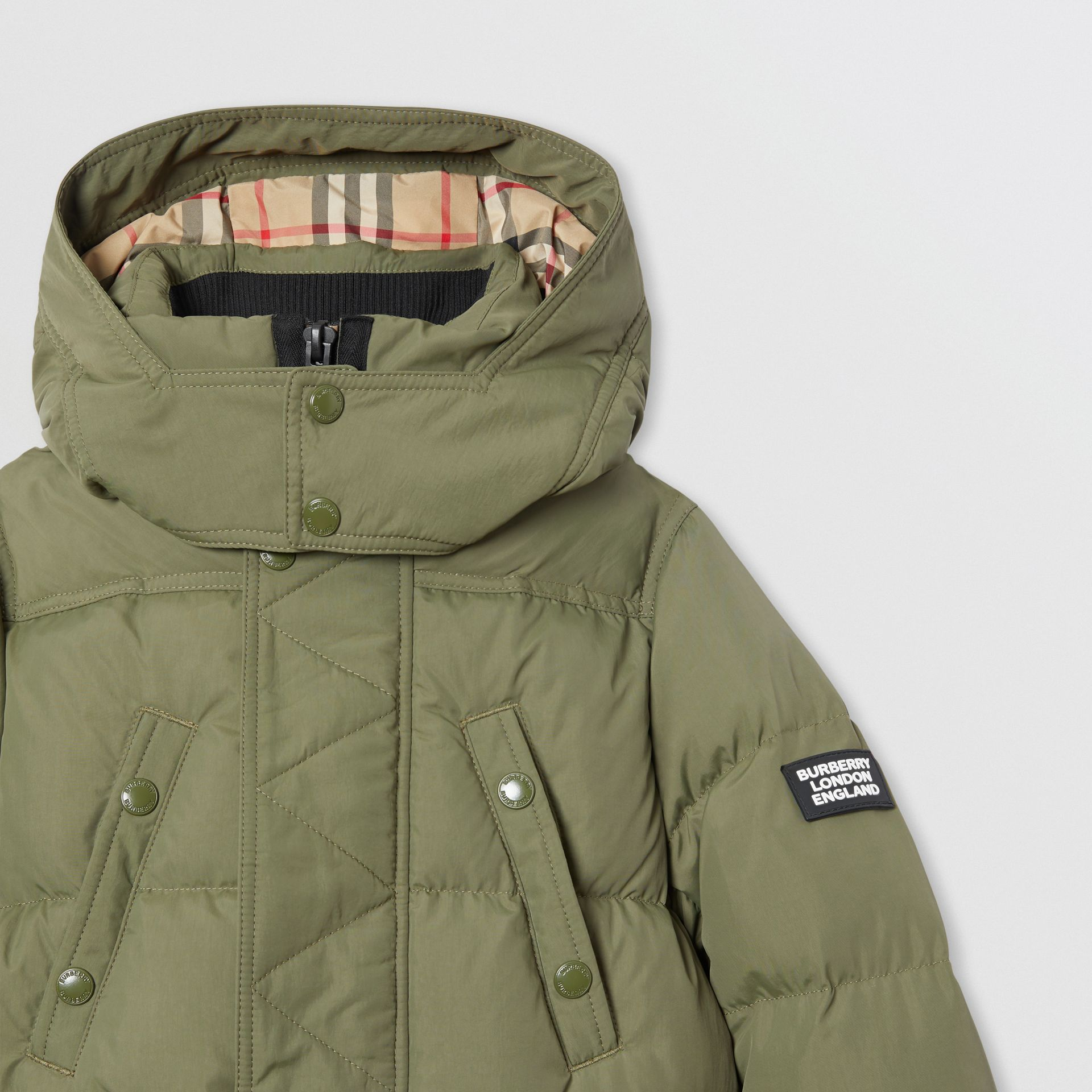 Detachable Hood Down-filled Puffer Coat in Poplar Green | Burberry United Kingdom - gallery image 4