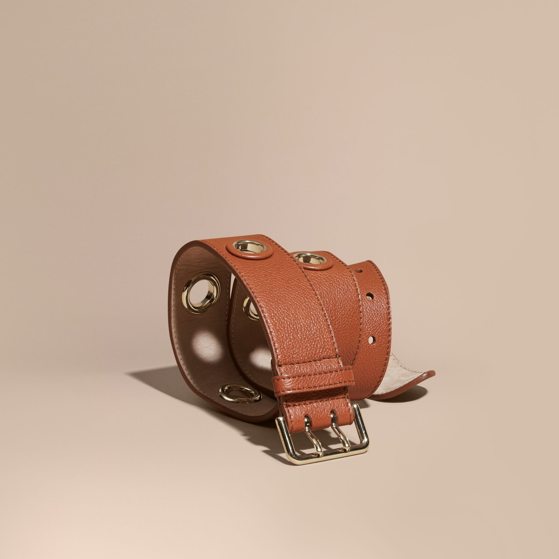 Eyelet Detail Grainy Leather Belt Bright Toffee - gallery image 1