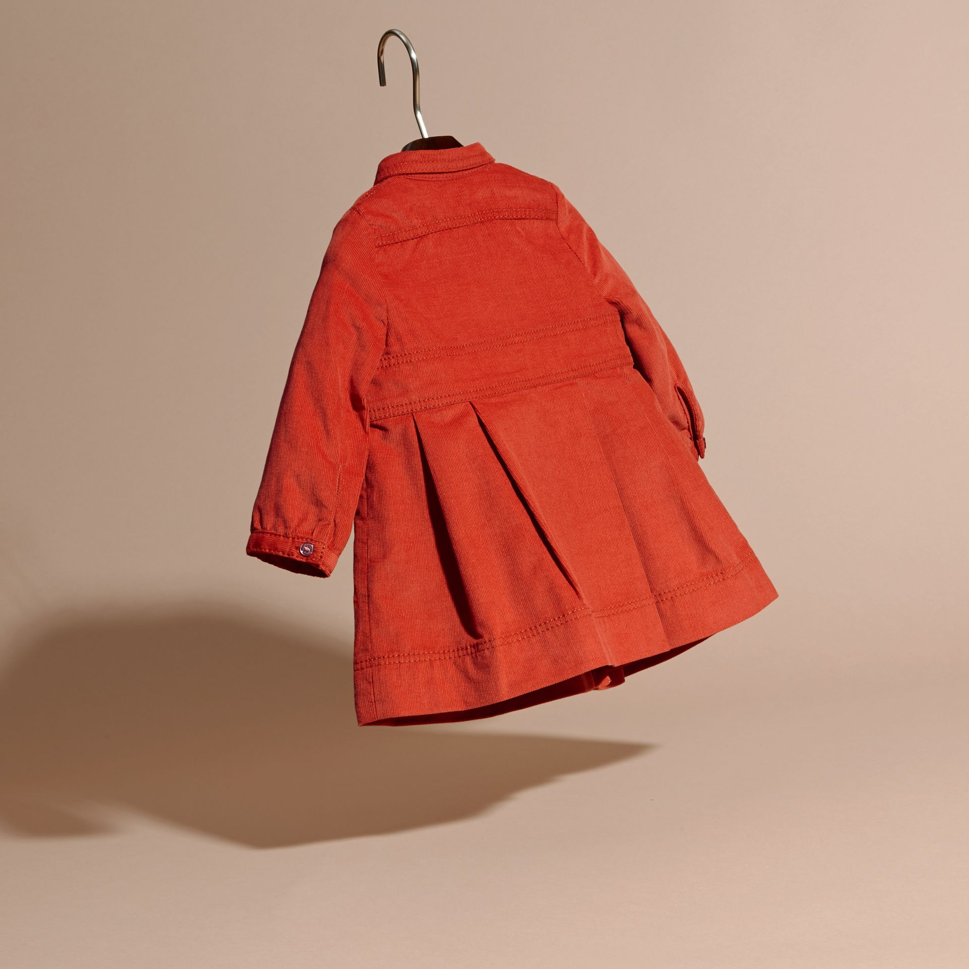 Orange red Cotton Corduroy Shirt Dress Orange Red - gallery image 4