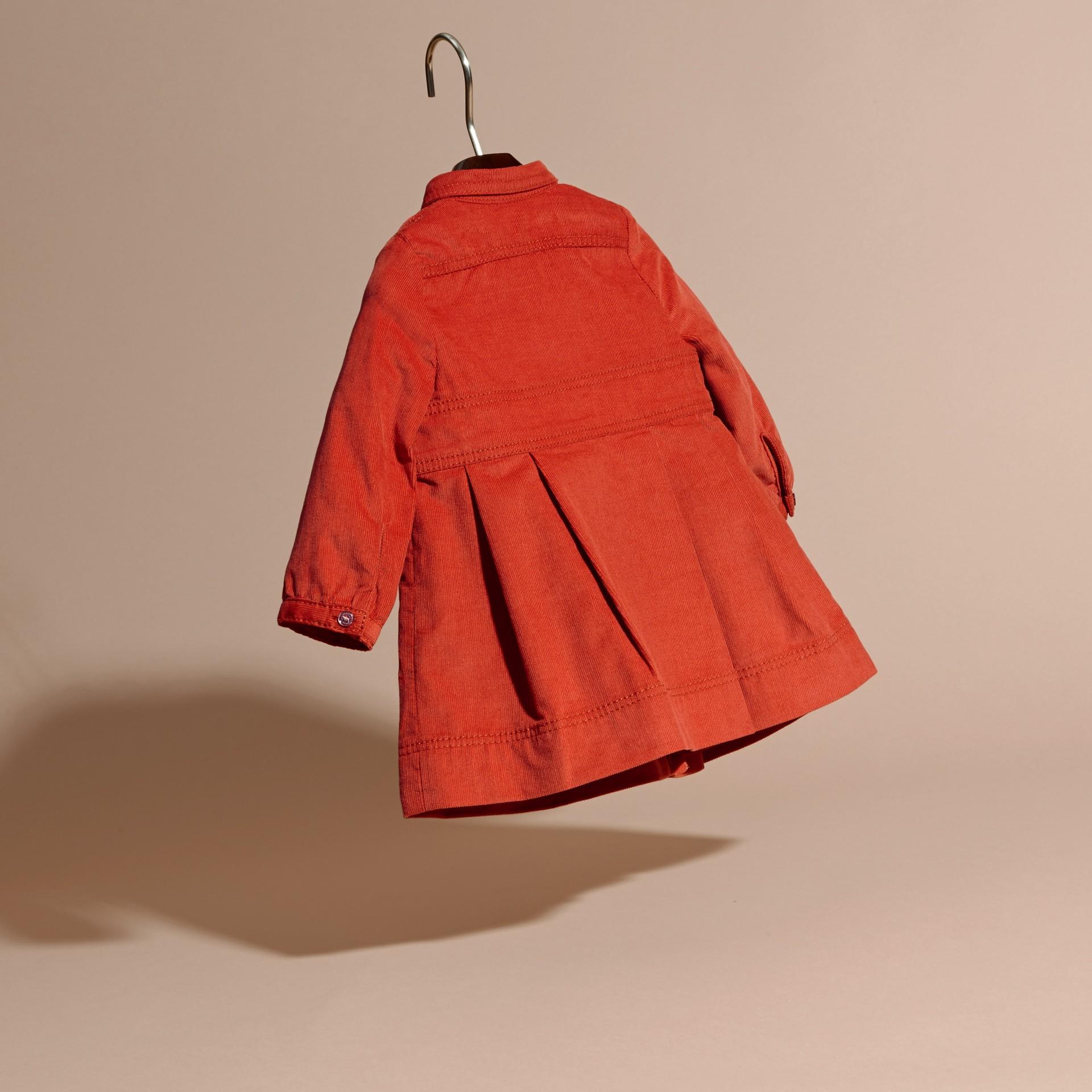 Rosso arancione Abito chemisier in corduroy di cotone Rosso Arancione - immagine della galleria 4