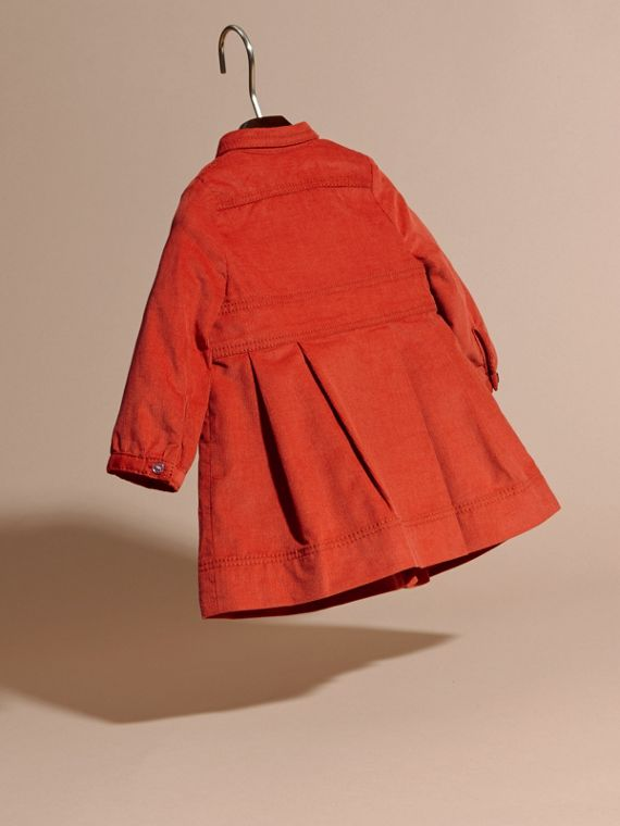 Orange red Cotton Corduroy Shirt Dress Orange Red - cell image 3