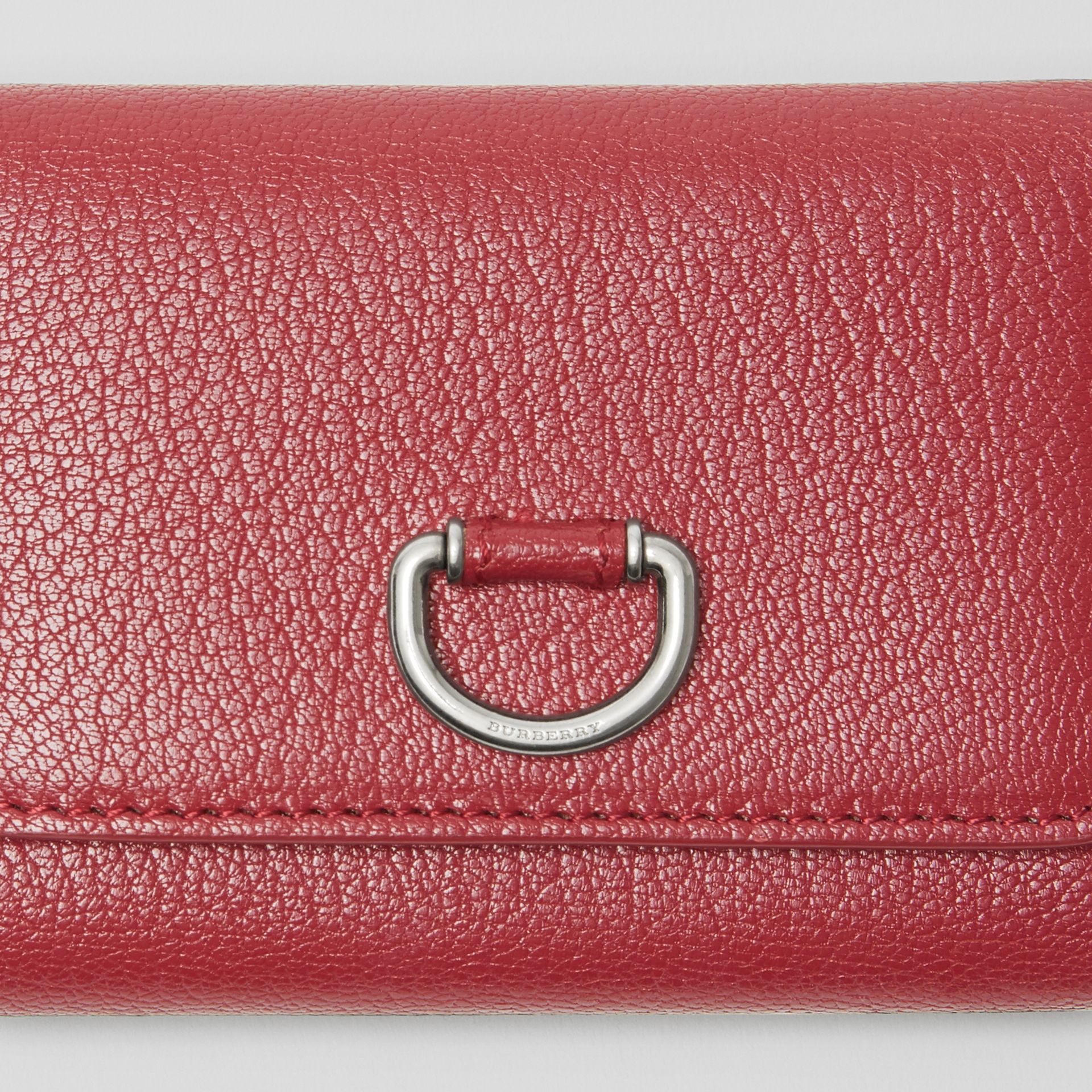 Small D-ring Leather Wallet in Crimson - Women | Burberry - gallery image 1