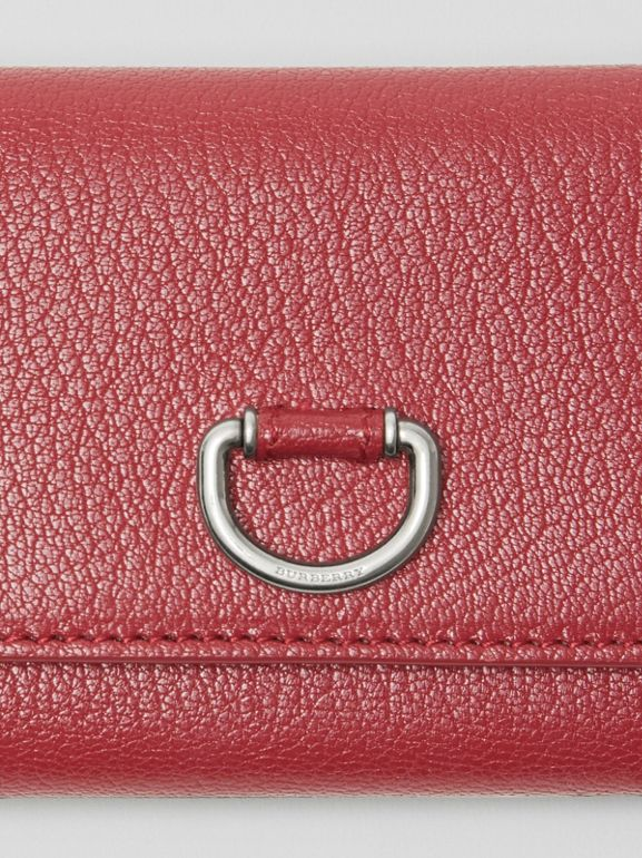 Small D-ring Leather Wallet in Crimson - Women | Burberry - cell image 1