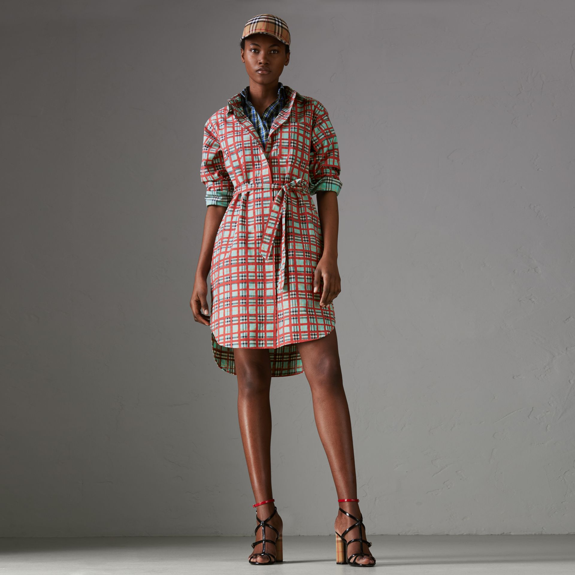 Painted Check Cotton Tie-waist Shirt Dress in Bright Aqua - Women | Burberry - gallery image 0