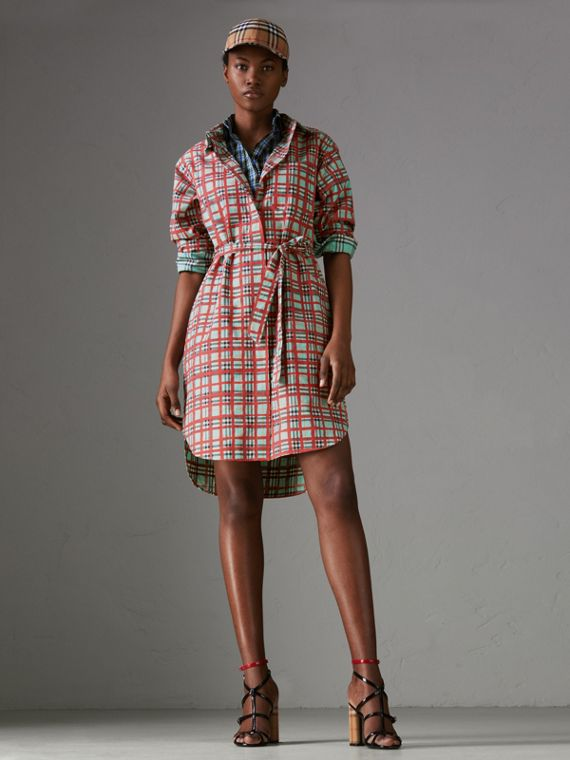 Painted Check Cotton Tie-waist Shirt Dress in Bright Aqua